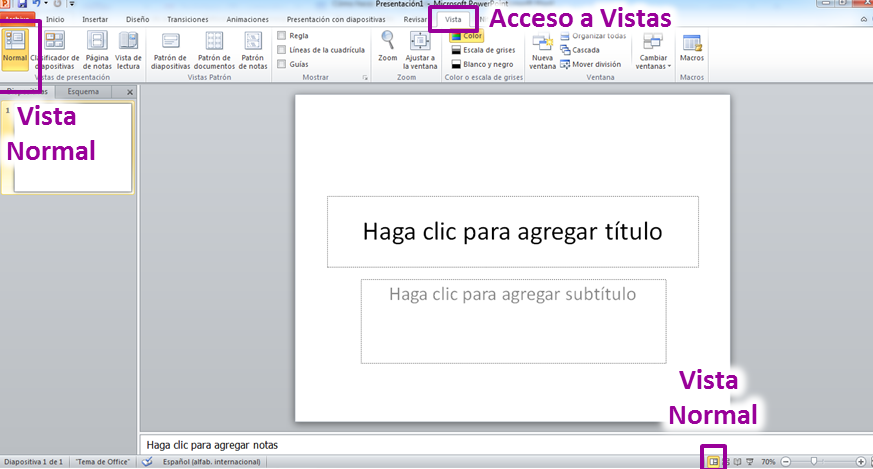 vista normal en powerpoint